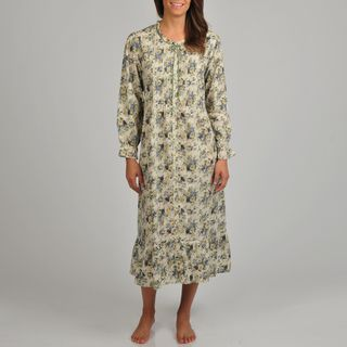La Cera Womens Floral Print Long Sleeve Robe