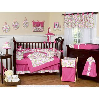 Sweet Jojo Designs Pink and Green Circles 9 piece Crib Bedding Set