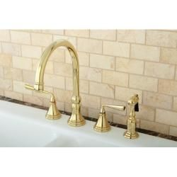 Polished Brass 4 hole Kitchen Faucet and Brass Sprayer