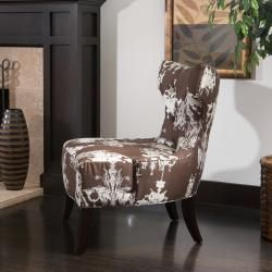 Chandelier print Fabric Brown/ White Accent Chair
