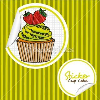 strawberry cupcake cartoon sticker  Stock Vector © Giuseppe Ramos