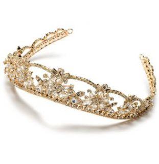 Gold Rhinestone Wedding Headband Bridal Tiara 167G