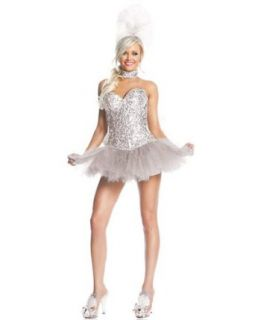 Deluxe Sexy Silver Sequin Show Girl Womens White Swan