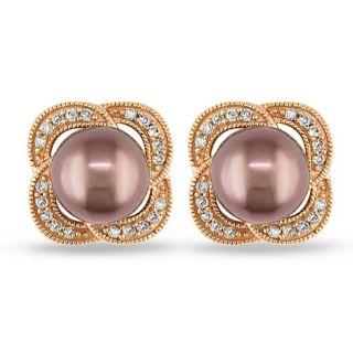 Miadora 14k Pink Gold 1/4ct TDW Diamond and Tahitian Pearl Stud