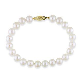 Miadora 14k Yellow Gold Akoya White Pearl Bracelet (7.5 8 mm
