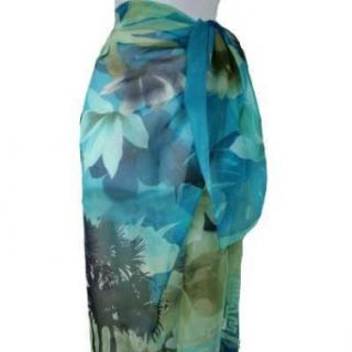 Blue Floral Pareo Sarong Big Scarf Wrap Swim Suit Cover