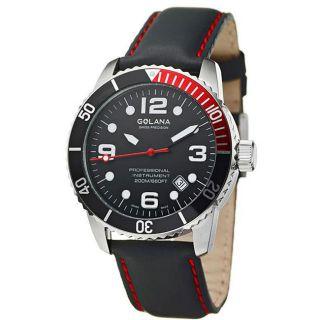Golana Swiss Mens Aqua Pro 200 Steel Case Leather Strap Watch