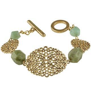 Adrienne Vittadini Gold Overlay Hyde Park Green Stone Bracelet
