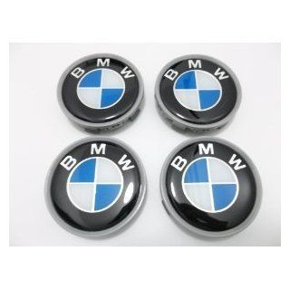 New 4 X BMW Glossy Blue Flat Wheel Center Caps, Badge