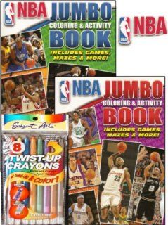 NBA Basketball Jumbo Coloring and Activity Book Set with