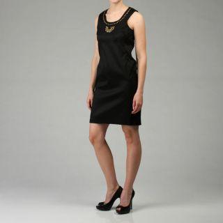 110 West Womens Black Stretch Taffeta Dress