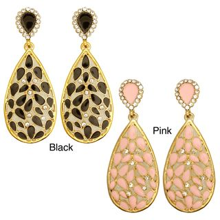 Kate Marie Goldtone Enamel and Cubic Zirconia Earrings