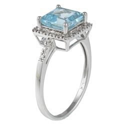 Viducci 10k White Gold Blue Topaz and 1/10 TDW Diamond Ring