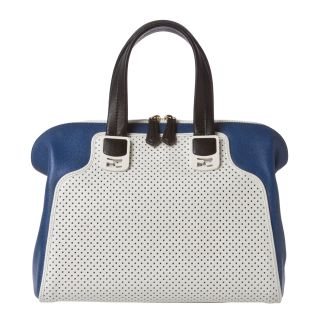 Fendi Chameleon Small White Perforated/ Blue Leather Satchel