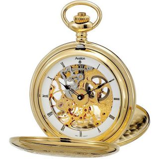 Avalon Imperiale Goldtone 17 jewel Skeleton Double cover Pocket Watch