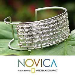 Sterling Silver New Inca Cuff Bracelet (Peru)
