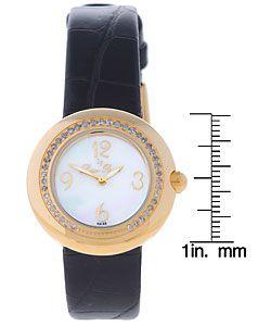 Lucien Piccard Womens Diamond Black Strap Watch