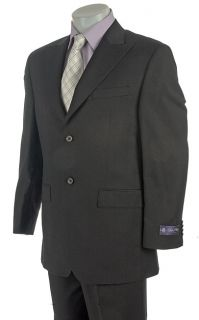 Sean John Mens Black 2 button Wool Suit