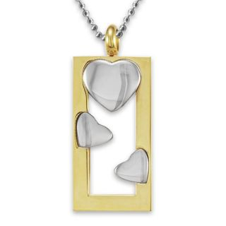 Stainless Steel Goldplated Heart Frame Polished Necklace