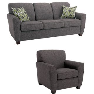 Mirage 2 piece Grey Fabric Sofa and Chair Set