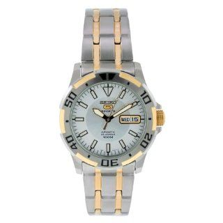 Seiko Mens SNZJ42 Two Tone Stainless Steel Analog with Silver Dial
