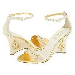 Baby Phat Linen Cat Wedge White/Gold