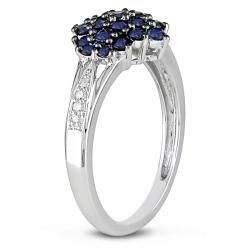 10k White Gold Sapphire and Diamond Accent Ring
