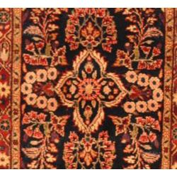 Persian Hand knotted Navy/ Red Sarouk Lilihan Wool Rug (210 x 1410