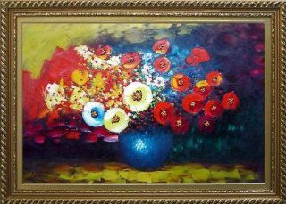 Red, Yellow and Blue Flowers Painting Oil Painting, with