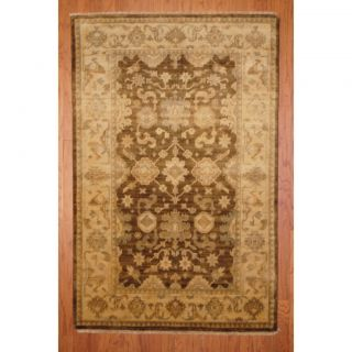 Indo Hand knotted Oushak Brown/ Beige Wool Rug (41 x 63)