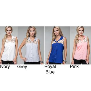 Stanzino Womens Knit Lace Button front Sleeveless Blouse