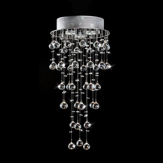 Floating Crystals and Chrome Flush mount Chandelier