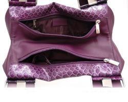Dasein Patent Leatherette Embossed Snake Skin Shoulder Bag