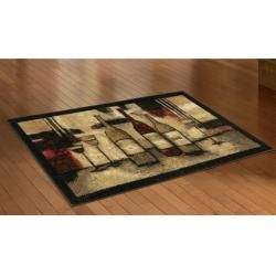 Wine And Glasses Brown Kitchen Rug (19 x 210)