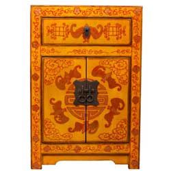 Orange Chinese Storage Cabinet/ End Table
