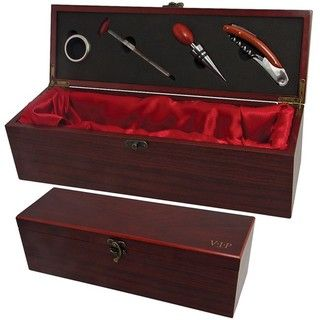 VIP Wine Accessories 4 piece Rosewood Wine Accessory Box