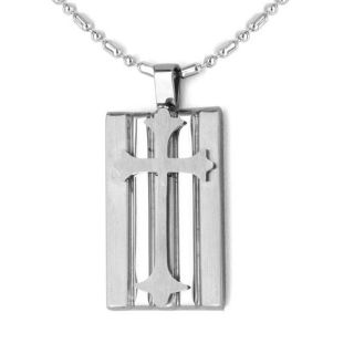 Stainless Steel Raised Cross Dog Tag Necklace