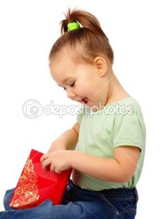 Cute little girl with red shopping bag  Stock Photo © Сергей