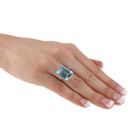 Viducci 10k White Gold Blue Topaz and Diamond Accent Ring