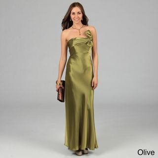 Issue New York Womens Long Pleated Knot Detail Evening Dress