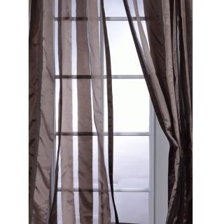 Coffee Striped 108 Inch Sheer Curtain Panel
