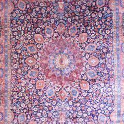 Persian Hand knotted Tabriz Navy/ Orange Wool Rug (113 x 165