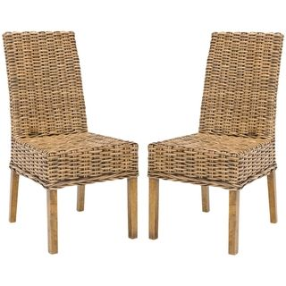 St Thomas Indoor Wicker Brown Side Chairs (Set of 2)