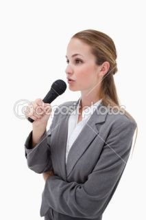 Side view of woman with microphone  Foto Stock © Wavebreakmedia