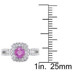 Miadora 14k White Gold Pink Sapphire and 1ct TDW Diamond Engagement