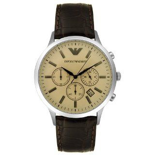 Emporio Armani Mens AR2433 Chronograph Stainless Steel and Brown