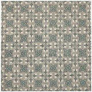 Handmade Majestic Light Blue/ Ivory Wool Rug (7 Square)
