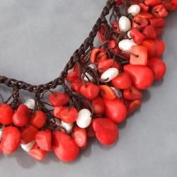 Cotton Clusters Teardrop Red Coral/ Pearl Necklace (5 7 mm) (Thailand
