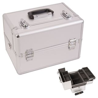 Justcase Silver Dot Extendable Tray Makeup Case