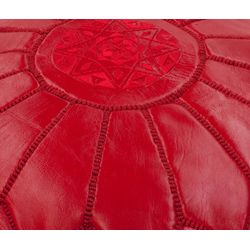 Handmade Casual Living Red Leather Moroccan Ottoman Pouf